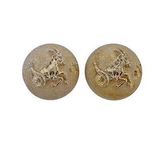 Buccellati Silver Capricorn Zodiac Sign Earrings