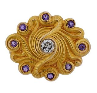 14k Gold Diamond Amethyst Brooch Pendant
