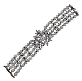 Mid Century Platinum Diamond Pearl Bracelet
