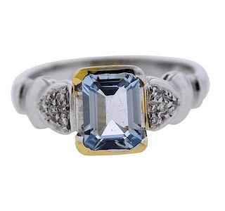 18k Gold 1.54ct Aquamarine Diamond Ring