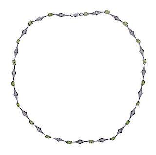 Laura Munder 18k Gold Diamond Peridot Necklace