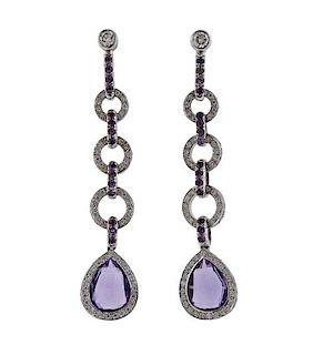 Laura Munder 18k Gold Diamond Amethyst Drop Earrings