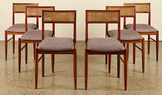 SET 6 MID CENTURY UPHOLSTERED DINING CHAIRS 1960
