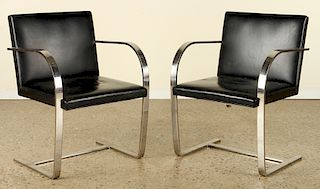 PAIR LEATHER CHROME BRUNO ARMCHAIRS BY KNOLL
