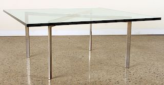 CHROME AND GLASS BARCELONA COFFEE TABLE BY KNOLL