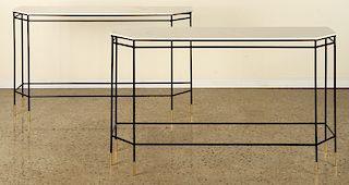 PAIR OF ITALIAN IRON CONSOLE TABLES MARBLE TOP