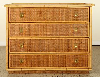 FRENCH RATTAN WICKER CHEST OF DRAWERS C.1975