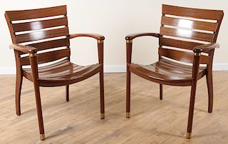 PAIR FRENCH MAHOGANY YACHT CHAIRS MANNER OF LELEU