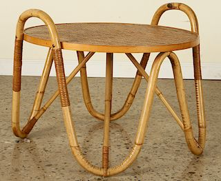 FRENCH RATTAN COFFEE TABLE JEAN ROYERE 1960