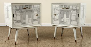 PAIR FORNASETTI STYLE SIDE TABLES CIRCA 1960