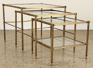 LARGE SET OF THREE BRASS GLASS NESTING TABLES
