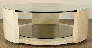 PARCHMENT KARL SPRINGER STYLE COFFEE TABLE