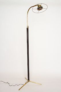 BRONZE LEATHER FLOOR LAMP JACQUES ADNET C. 1950