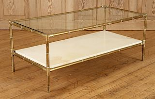 FAUX BAMBOO 2 TIER COFFEE TABLE GLASS TOP C.1960