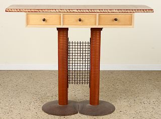 STUDIO MADE IRON & WOOD CONSOLE TABLE SIGNED 1993