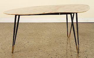 MID CENTURY MODERN IRON COFFEE TABLE MARBLE TOP