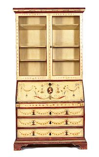 A Venetian Style Painted Secretary Desk Height 90 1/2 x width 47 x depth 20 1/2 inches.