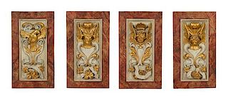 Four Italian Carved, Painted and Parcel Gilt Panels Height of each 36 x 20 inches.
