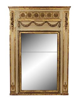 A Continental Neoclassical Carved, Painted and Parcel Gilt Overmantle Mirror Height 74 3/4 x width 52 1/2 inches.