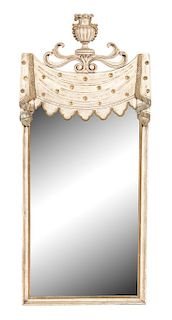 An Italian Directoire Style Painted and Parcel Gilt Mirror Height 54 x width 23 inches.