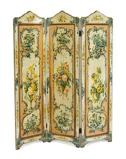 A Continental Painted Three-Panel Floor Screen Height 67 x width of each panel 18 inches.
