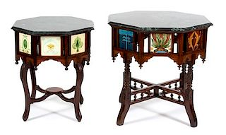 Two Portuguese Colonial Hexagonal Rosewood Tables Height of larger 30 1/2 x diameter 32 inches.
