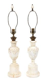 A Pair of Italian Carved Alabaster Urn-form Table Lamps Height overall 32 3/4 inches.