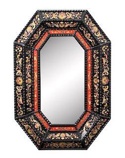 An Octagonal Cushion Framed Ebonized Mirror Inset Panels Height 50 x width 35 inches.