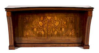 A Dutch Floral Marquetry Inlaid Walnut Concave Console Table Height 29 x width 73 x depth 17 1/4 inches.