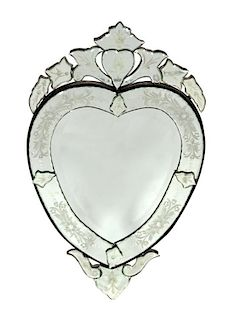 A Venetian Glass Heart-Shaped Mirror Height 31 1/4 x width 19 inches.