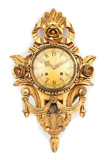 An Exacta Swedish Cartel Style Carved Giltwood Clock Height 22 inches.
