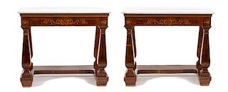 A Pair of Neoclassical Marquetry Satinwood Marble Top Pier Tables Height 38 1/2 x width 44 1/2 x depth 21 1/2 inches.