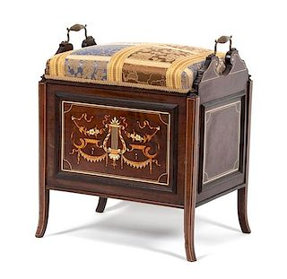 A Continental Marquetry Inlaid Rosewood Music Bench Height 23 x width 18 3/4 x depth 14 1/2 inches.