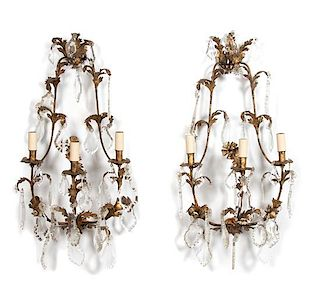 A Pair of Louis XV Style Gilt Metal and Crystal Three-Light Wall Sconces Height 32 inches.