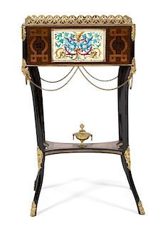 A Louis XV Gilt Metal Mounted Marquetry Inlaid Jardiniere Height 33 inches.