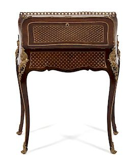 A Louis XV Style Brass Mounted and Inlaid Bureau de Dame Height 35 1/2 x width 29 1/2 x depth 17 1/2 inches.