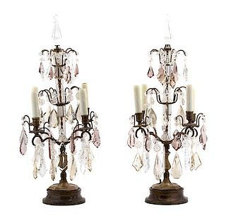 A Pair of Louis XV Style Gilt Metal and Cut Crystal Girandoles Height 28 x diameter 11 inches.