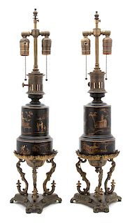 A Pair of French Gilt Bronze and Tole Fluid Lamps Height overall 27 x diameter 7 1/2 inches.