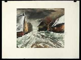 Vlaminck Heliogravure Allainville Under the Snow, 1951