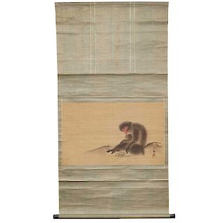 Monkey with Insects Scroll