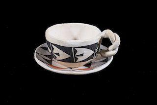 Acoma Handmade Polychrome Pottery Tea Cup & Saucer