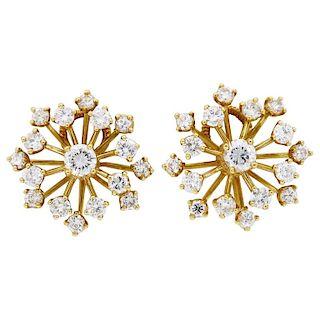 Estate 18k Yellow Gold 1.08 Carat Starburst Earrings