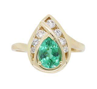 Pear Cut Emerald and Diamond Ring