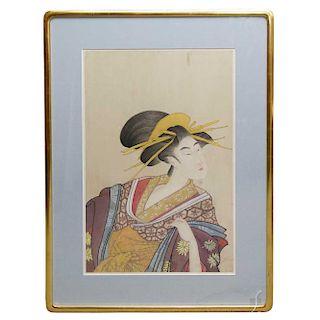 Silk Painting of Geisha