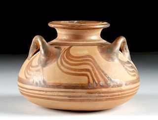 Gorgeous Mycenaean Pottery Pyxis w/ Three Handles