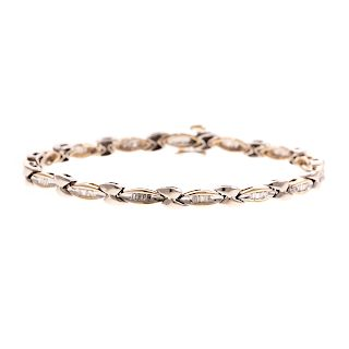 A Ladies 14K Two Tone Diamond Link Bracelet