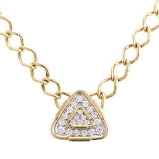 A Ladies Heavy Chain with Diamond Pendant in 18K