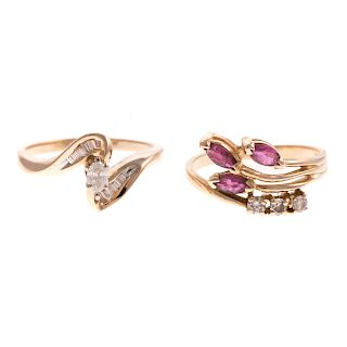 A Diamond Engagement Ring & Ruby & Diamond Band