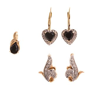 Two Pairs of Sapphire & Diamond Earrings & Pendant