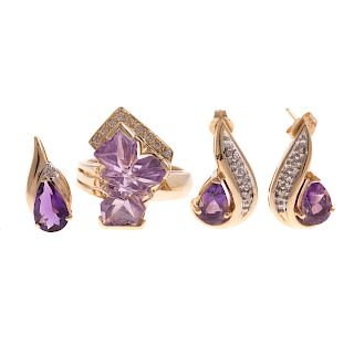 A Collection of Amethyst Jewelry in 14K
